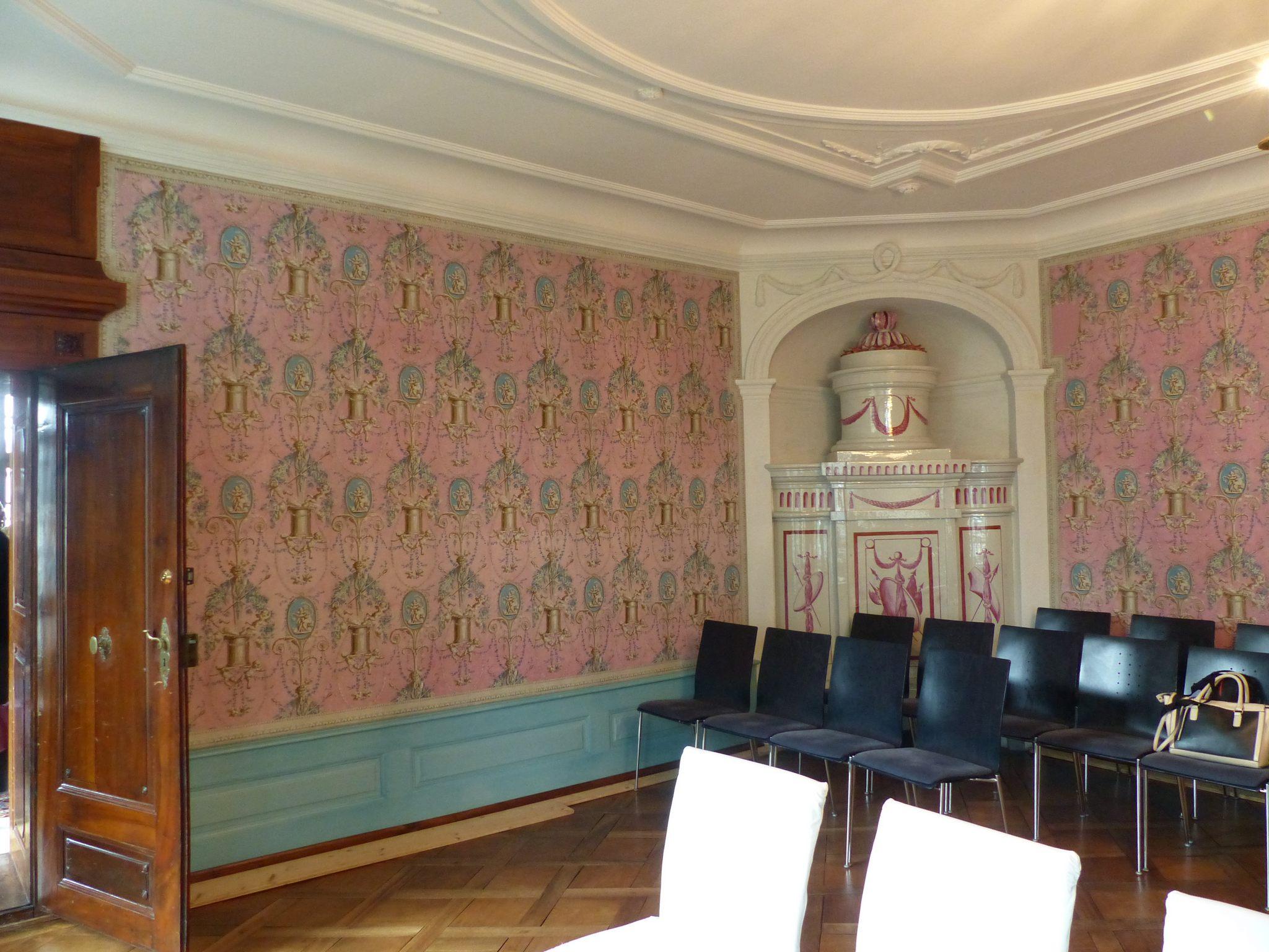 Lenzburg (Suisse) Müllerhaus, 18e siècle Papier peint d'origine conservé in-situ