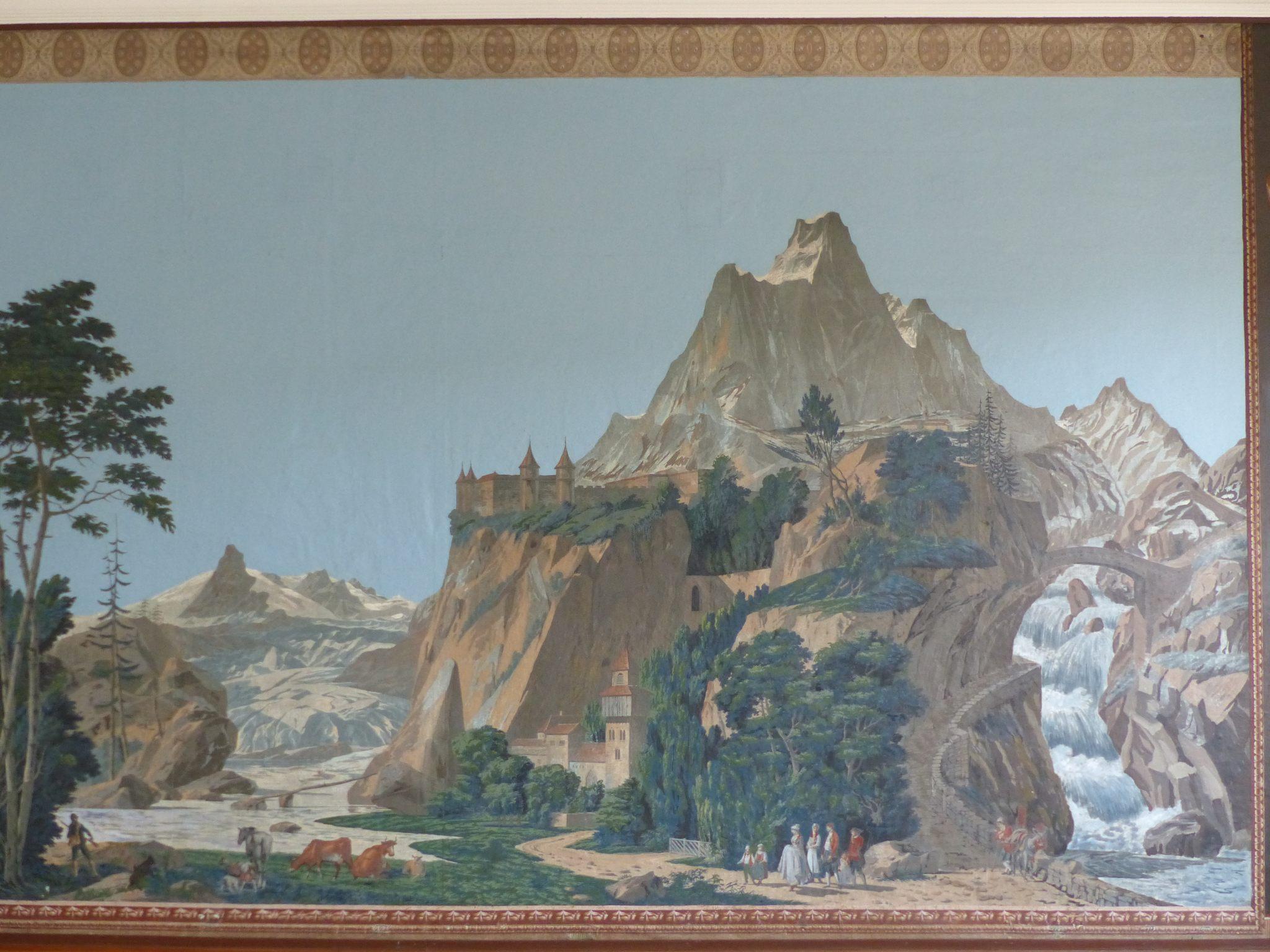 Lenzburg (Suisse) Rathaus Panoramique Zuber posé dans les années 1810
