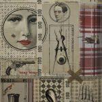 """Détail d'un lé de papier peint """" Le labo"""" Maison Caumont design Laure Vial du Chatenet © Cliché Musée du Papier peint, Rixheim, France"""
