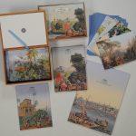 Carnets et coffret de correspondance à motif de papier peint panoramique produits par les Edition Du Chêne - Produits en vente à la boutique du Musée du Papier peint, Rixheim, France