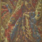 Tapis drapé, papier peint à motif répétitif, manufacture Anonyme, avant 1893, papier continu, fond mat, impression mécanique, 17 couleurs, contrefond taille douce en finition, Musée du Papier peint, Rixheim, France, inv.987 PC 23
