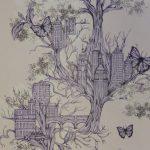 Papier peint Urban Tree Lilac, collection New Wawe Manufacture Graham & Brown, Royaume-Uni, 2014 Dessinatrice Louise Tiler Impression mécanique héliographie cliché Musée du Papier Peint, Rixheim © Graham & Brown