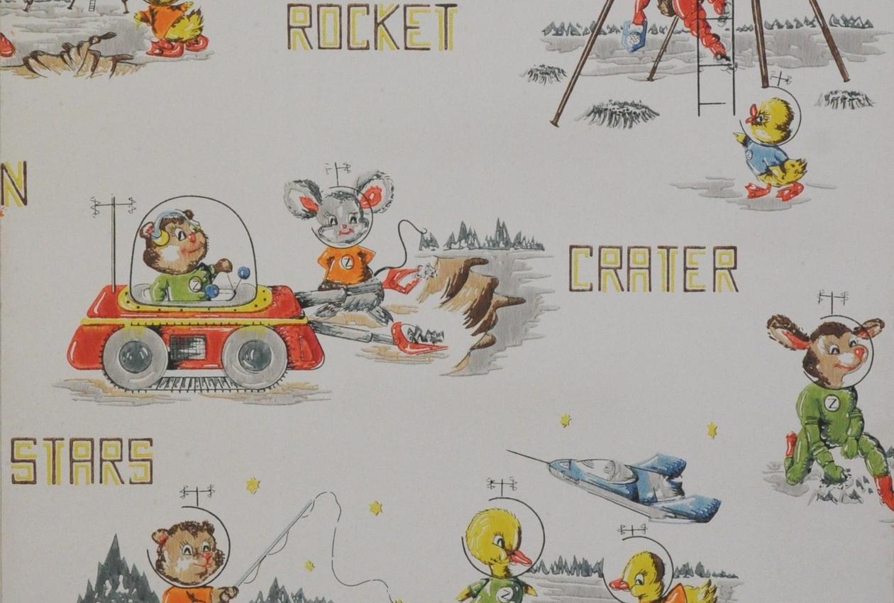 Manufacture Inconnue, Royaume-Uni Années 1950-60 Papier continu, fond mat, impression mécanique, rouleau en relief, 12 couleurs Inv. 2011.29.2.B