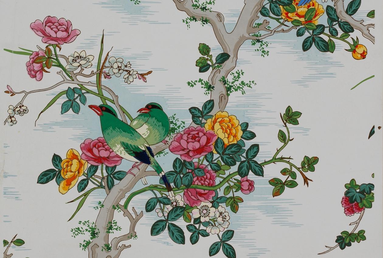 Attribué à la manufacture Fontaine, Paris Années 1860 Papier continu, fond mat, impression à la planche Inv. DL 193