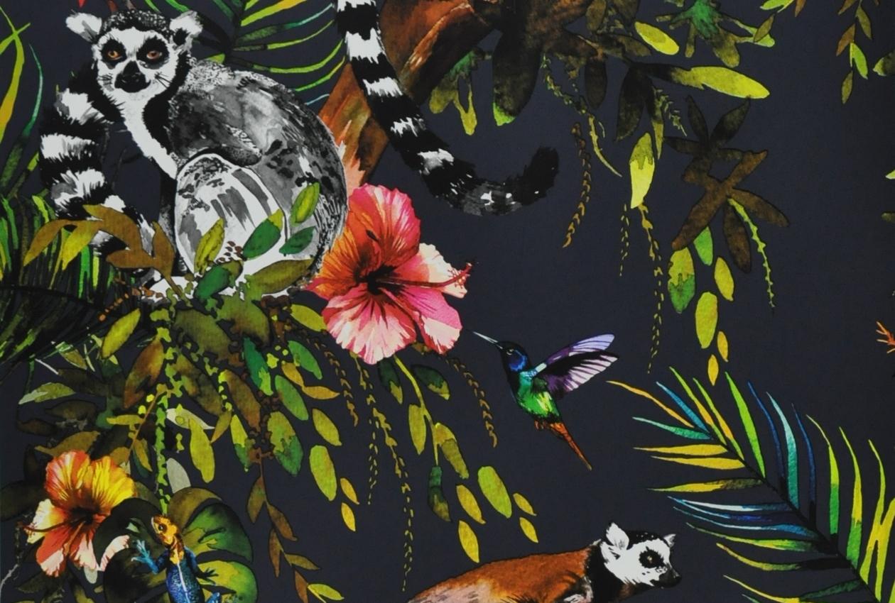 Madagascar Design et édition Papier peint des années 70, Langenwetzendorf, Allemagne Imprimé en Allemagne Papier continu, impression mécanique, héliographie / Inv. 2018.7.1