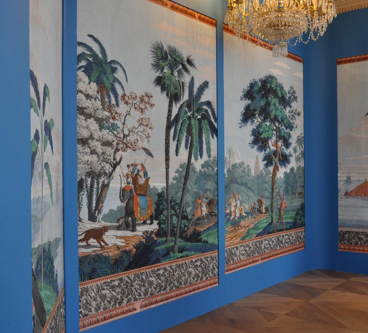 Papier peint panoramique « La grande chasse au tigre » manufacture Velay - Il retournera dans « ses » boiseries du château de Saulx-de-Vesoul en novembre.